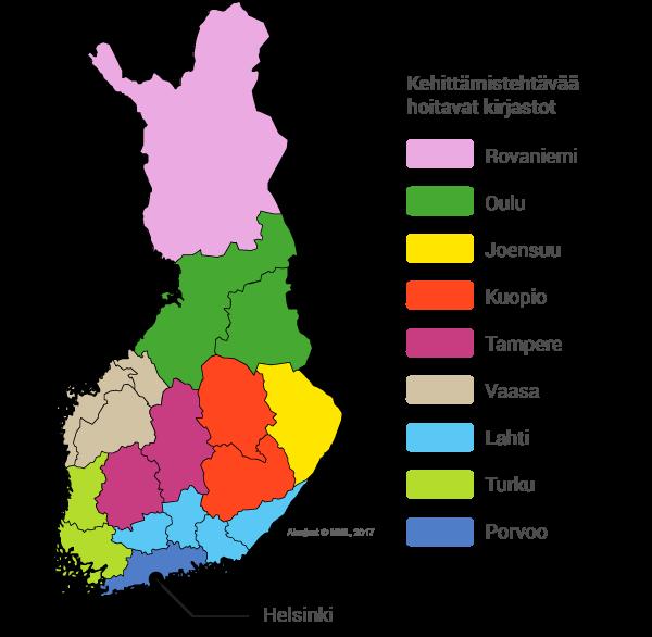 Kartta kehittämiskirjastoalueista.