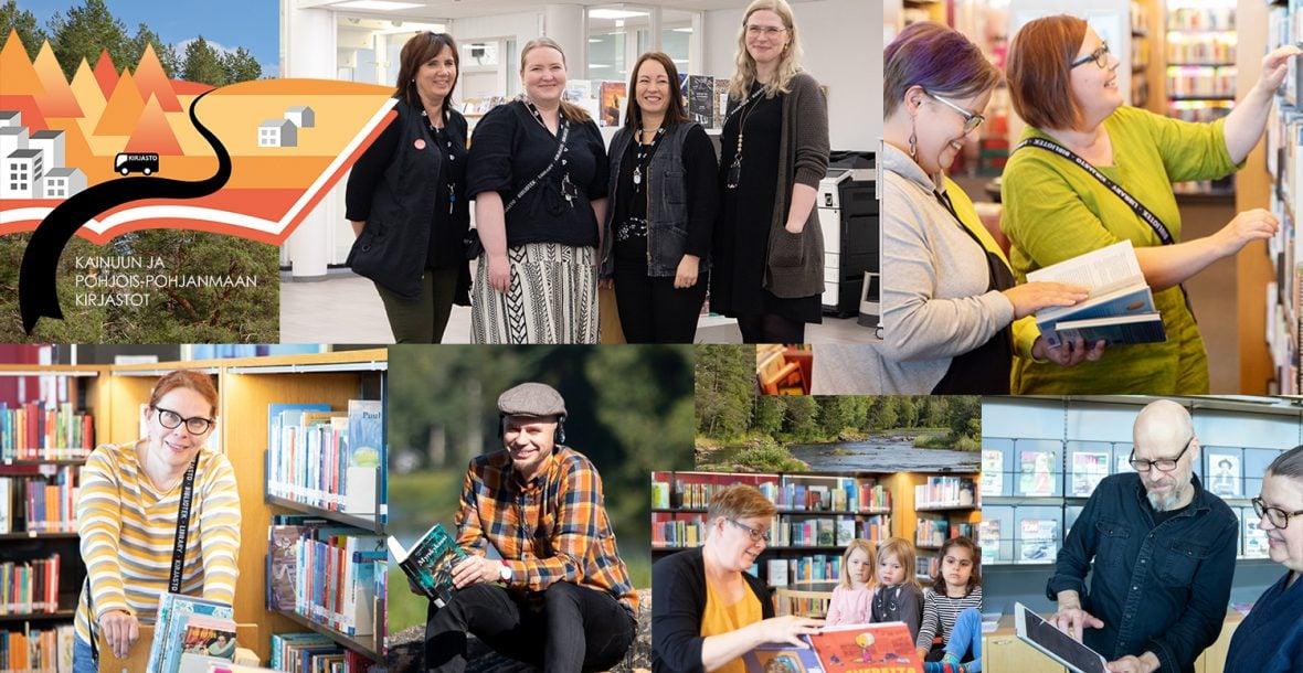 Hymyileviä kirjaston työntekijöitä eri työtehtävissä.